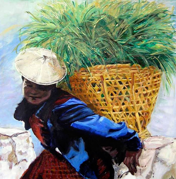 Painting: Bhutanese Woman With Basket