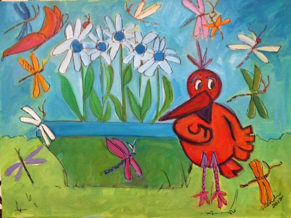 Painting: Red Bird 2