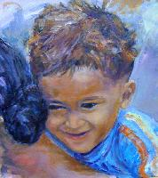 Painting: Cambodian Mother and Child