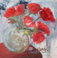 Painting: Red Poppies Round