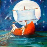 Painting: Wynken, Blynken Nod 6