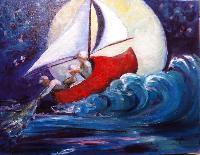 Painting: Wynken, Blynken Nod 3