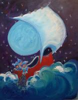 Painting: Wynken, Blynken Nod Blue Moon