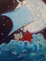 Painting: Wynken, Blynken Nod Blue Sail